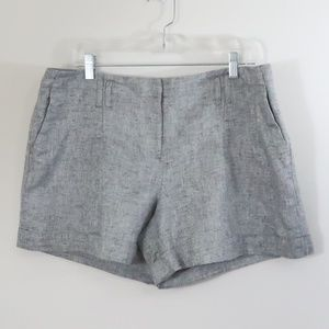 4/$25 LOFT Linen Metallic Gray Silver Shorts 14